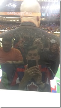 Selfie showing my view of the game