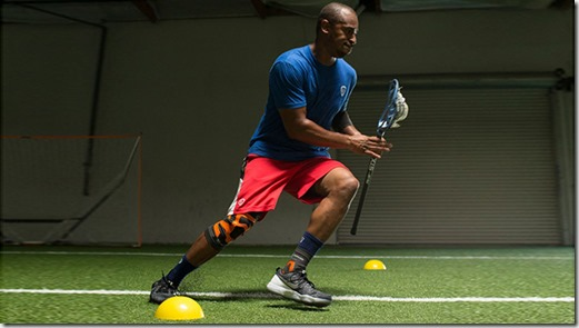 To make the beep test more appropriate for box lacrosse, hold your lacrosse stick while running